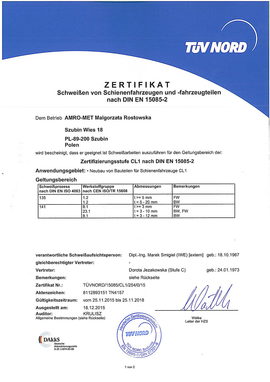 Zertifikat EN 15-85-2