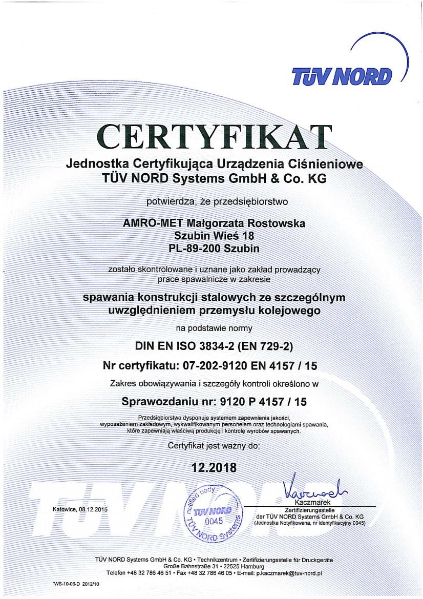 Certyfikat TUV NORD Systems GmbH & Co. KG