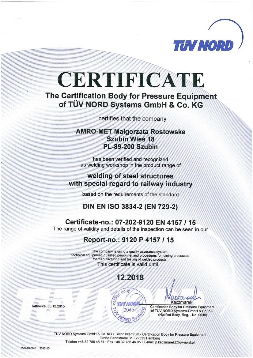 Certificate TUV NORD EN
